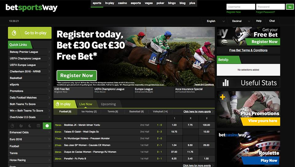 betway-sport user interface