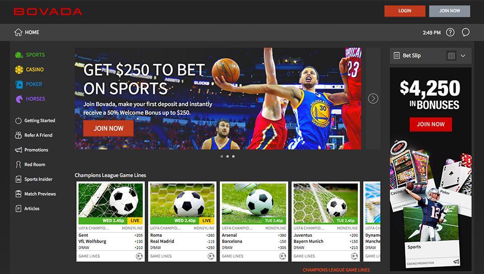 Bovada casino user interface