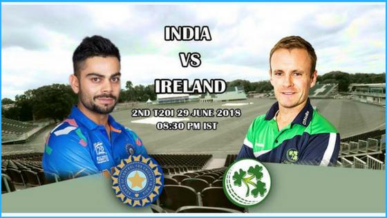 India vs ireland 2nd t2o match