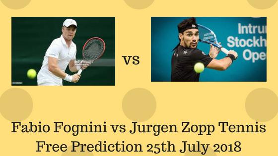 Fabio Fognini vs Jurgen Zopp Tennis Free Prediction 25th July 2018