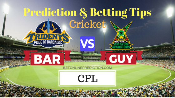 Barbados Tridents vs Guyana Amazon Warriors 22nd T20 Prediction and Free Betting Tips 1st September 2018 (1)