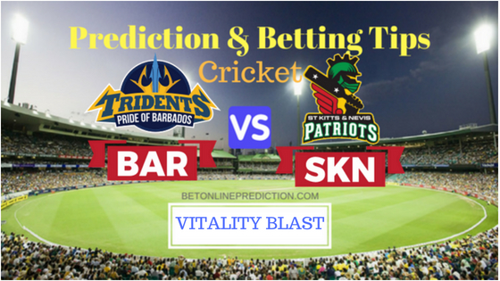 Barbados Tridents vs St Kitts and Nevis Patriots 16th T20 Prediction and Free Betting Tips 26th August 2018