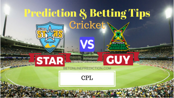 St Lucia Stars vs Guyana Amazon Warriors 15th T20 Prediction and Free Betting Tips 25th August 2018
