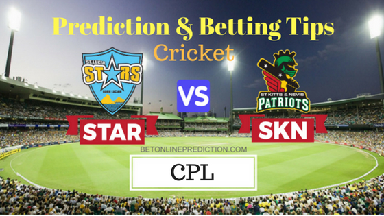 St Lucia Stars vs St Kitts and Nevis Patriots 13th T20 Prediction and Free Betting Tips 22th August 2018