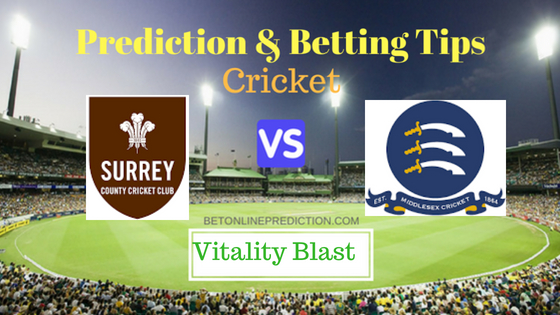 Surrey vs Middlesex South Group T20 Prediction and Free Betting Tips 3rd August 2018