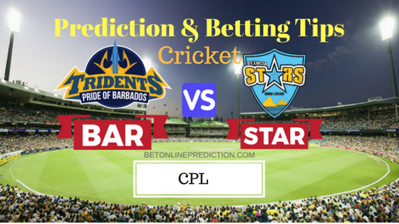 Barbados Tridents vs St Lucia Stars 24th T20 Prediction and Free Betting Tips 2nd September 2018