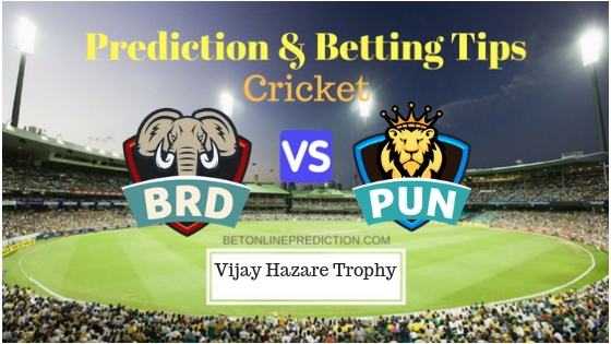 Baroda vs Punjab Round 5, Elite Group A ODI Prediction and Free Betting Tips 24th September 2018