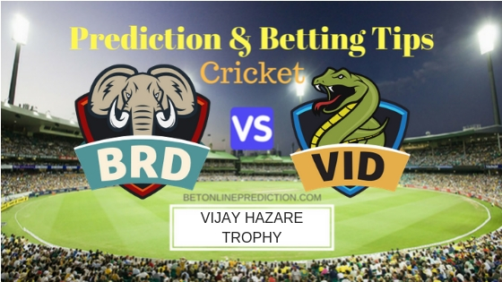 Baroda vs Vidarbha Round 2,Elite Group A ODI Prediction and Free Betting Tips 20th September 2018