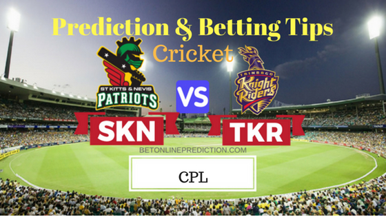 St Kitts and Nevis Patriots vs Trinbago Knight Riders 23rd T20 Prediction and Free Betting Tips 2nd September 2018