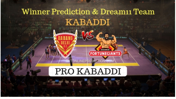 Dabang Delhi vs Gujarat FortuneGiants Prediction and Free Betting Tips 09th October 2018