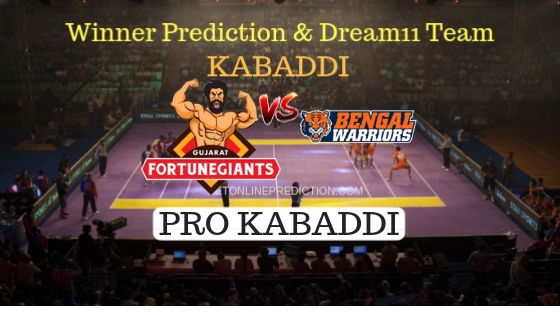 Gujarat Fortunegiants vs Bengal Warriors 66th Team, Team News, Winner Prediction 16th November 2018