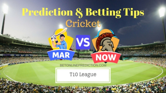 Maratha Arabians vs Northern Warriors 12th T10 Team, Team News, Winner Prediction 25th November 2018