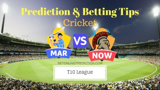Maratha Arabians vs Northern Warriors 12th T10 Team, Team News, Winner Prediction 25th November 2018