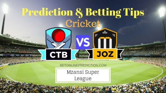Cape Town Blitz vs Jozi Stars 20th T20 Team, Team News, Winner Prediction 4th December 2018