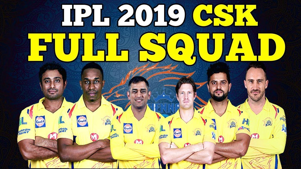 Chennai Super Kings IPL 2019 Team Squad List