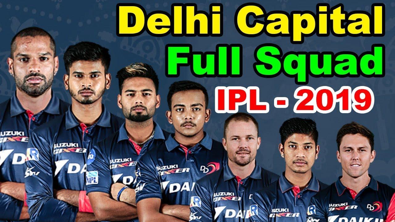 Delhi Capitals IPL 2019 Team Squad List
