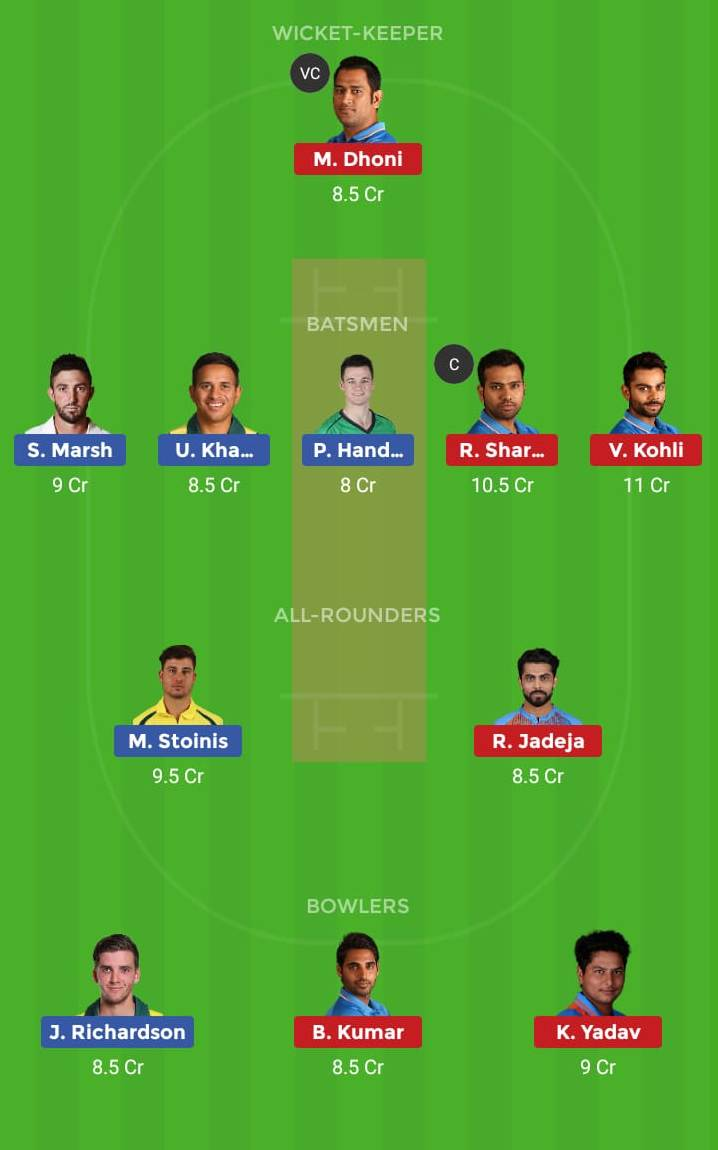 India vs Australia 2nd ODI Dream11 Team, Team News, Winner Prediction 15th January 2019
