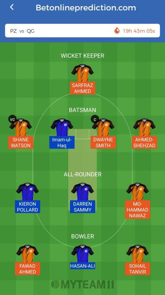 Peshawar Zalmi vs Quetta Gladiators Myteam11 and Fantain Prediction