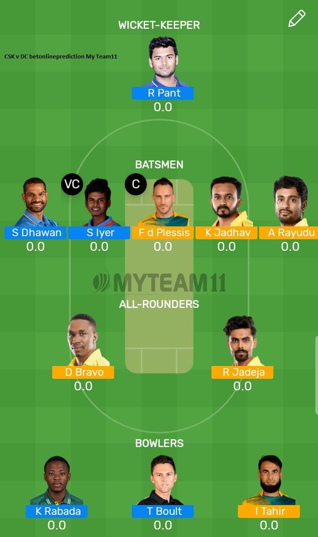 Chennai Super Kings vs Delhi Capitals 50th T20 Indian Premier League 2019