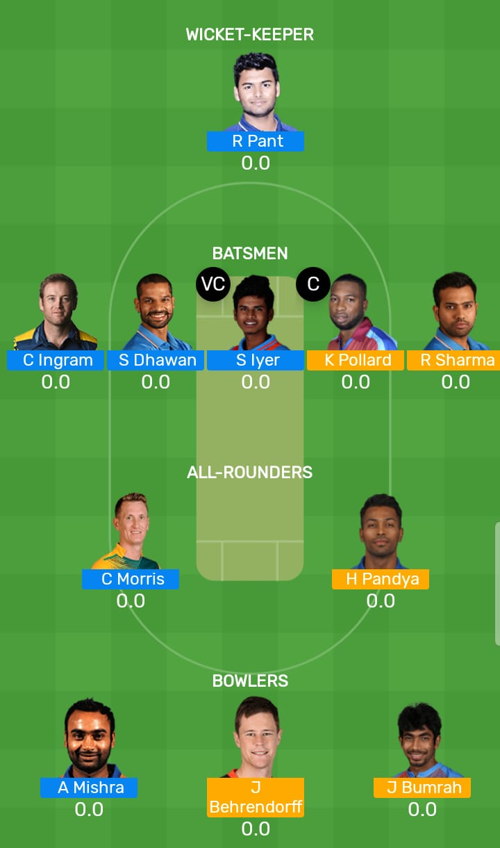 Delhi Capitals vs Mumbai Indians 34th T20 Indian Premier League 2019