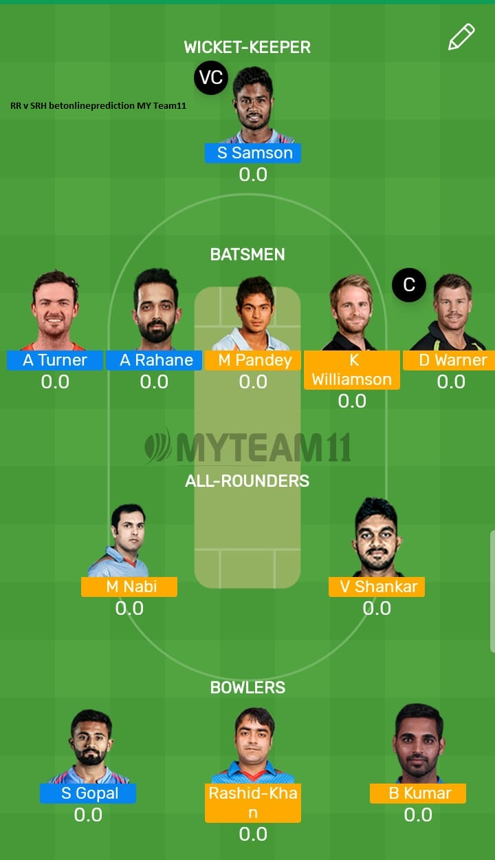 Rajasthan Royals vs Sunrisers Hyderabad 45th T20 Indian Premier League 2019