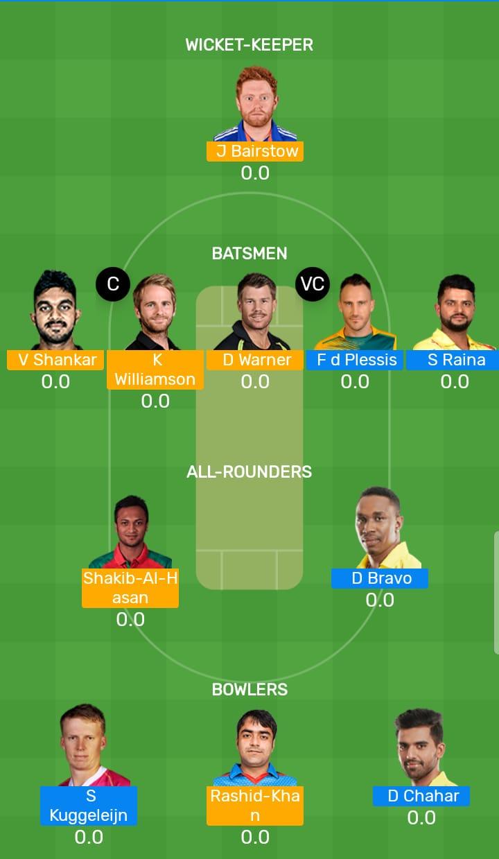 Sunrisers Hyderabad vs Chennai Super Kings 33rd T20 Indian Premier League 2019