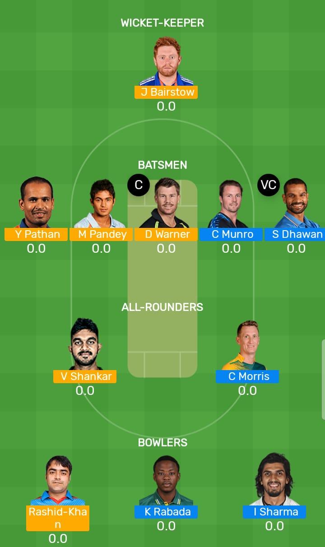 Sunrisers Hyderabad vs Delhi Capitals 30th T20 Indian Premier League 2019