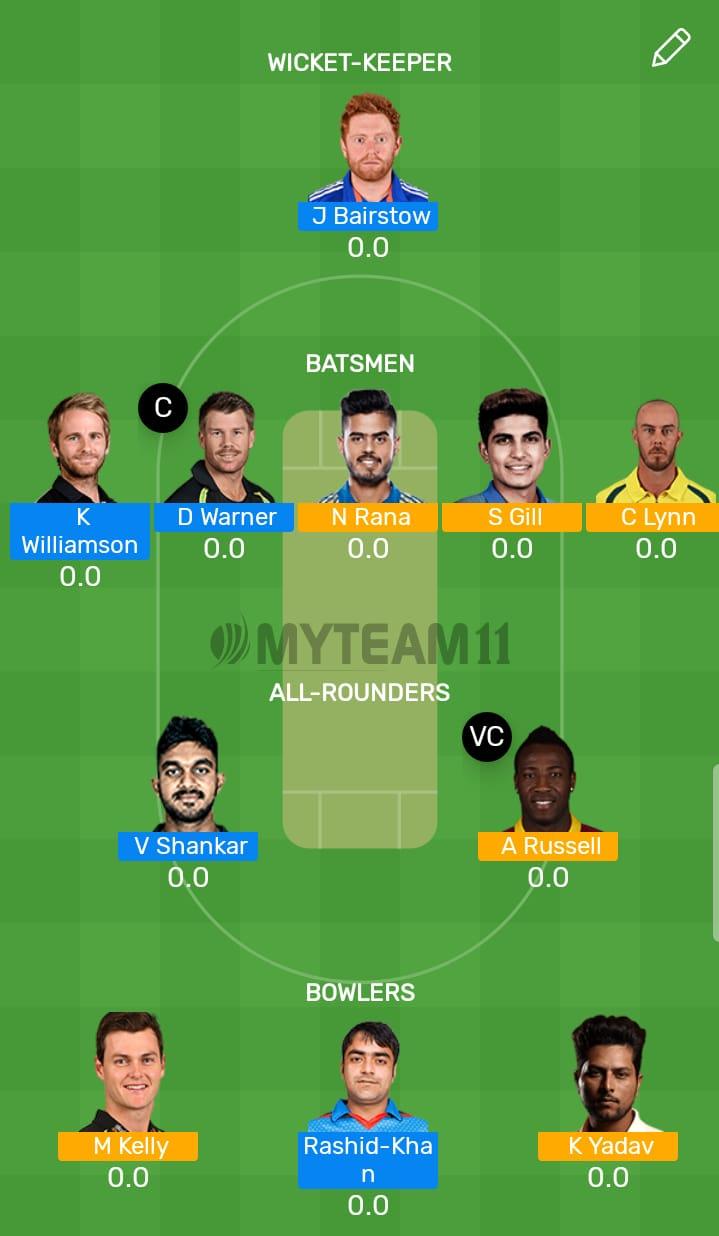 Sunrisers Hyderabad vs Kolkata Knight Riders 38th T20 Indian Premier League 2019
