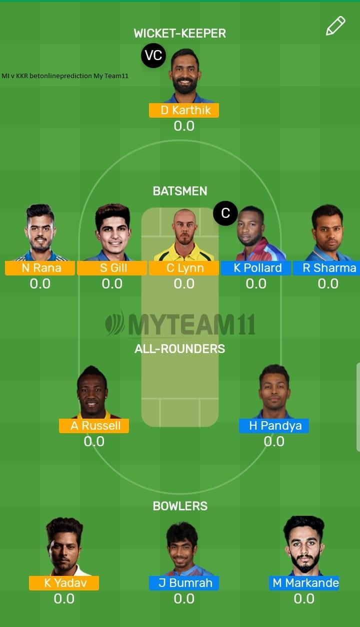 Mumbai Indians vs Kolkata Knight Riders 56th T20 Indian Premier League 2019