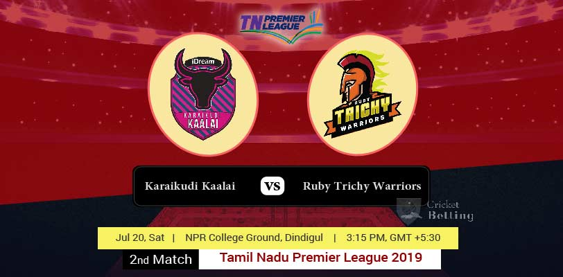 Ruby Trichy Warriors vs Karaikudi Kaalai 2nd T20 Tamil Nadu Premier League