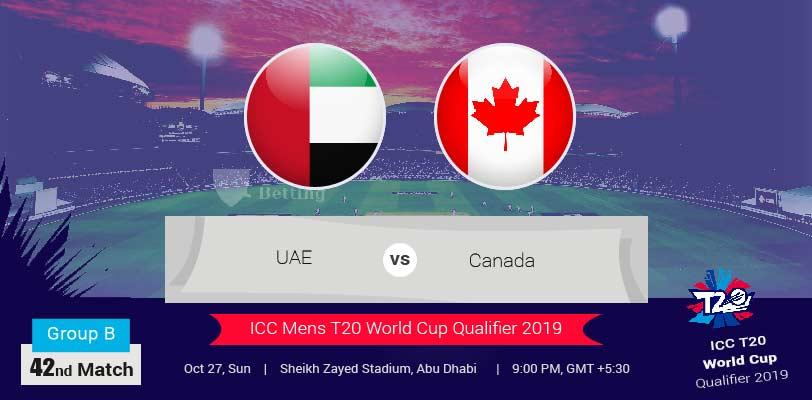 UAE vs Canada ICC T20 World Cup Qualifier